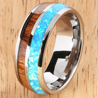 Koa Wood Opal Tungsten Two Tone Mens Wedding Ring Half Wood/Opal 8mm Barrel Shape Hawaiian Ring