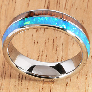 Koa Wood Opal Tungsten Two Tone Wedding Ring Half Wood/Opal 6mm Barrel Shape Hawaiian Ring - Hanalei Jeweler