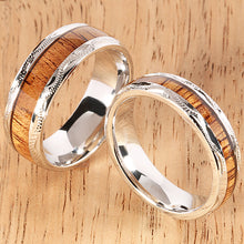 sterling silver koa wood wedding band