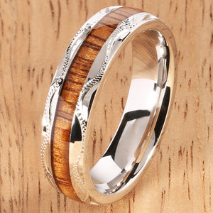silver koa wood ring