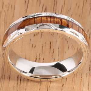 silver koa wood inlay ring