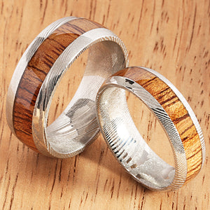 Koa Wood Inlay Damascus Wedding Ring 8mm - Hanalei Jeweler