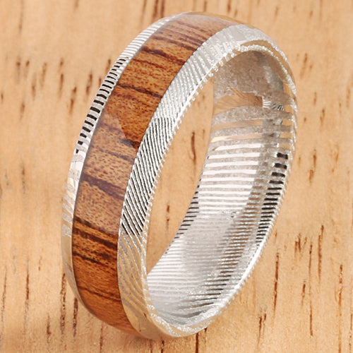 Damascus Steel Koa Wood Inlay Wedding Ring 6mm - Hanalei Jeweler