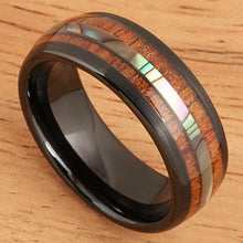 Koa Wood Abalone Tungsten Two Tone Wedding Ring Central Abalone 8mm