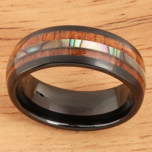 Koa Wood Ring  Abalone Inlay Black Tungsten Wedding Ring Central Abalone 8mm Barrel Shape - Hanalei Jeweler