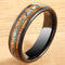 Koa Wood Ring  Abalone Inlay Black Tungsten Wedding Ring Central Abalone 6mm Barrel Shape - Hanalei Jeweler