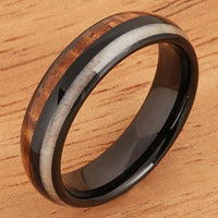 Koa Wood Ring  Antler Style Black Tungsten Wedding Ring 6mm Barrel Shape