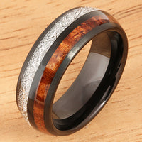 Koa Wood and Meteorite Pattern Ring Black Tungsten Wedding Ring 8mm Barrel Shape