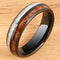 Koa Wood and Meteorite Pattern Black Tungsten Wedding Ring 6mm Barrel Shape - Hanalei Jeweler