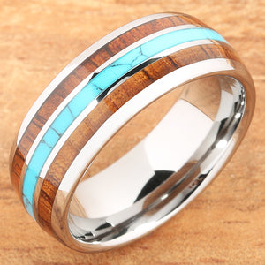 Koa Wood Turquoise Tungsten Wedding Ring 8mm Triple Row Men's Ring