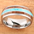 Koa Wood Turquoise Tungsten Wedding Ring 8mm Triple Row Men's Ring - Hanalei Jeweler