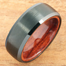 Black Tungsten Koa Wood Double Ring Brush Finished Beveled Edge 8mm - Hanalei Jeweler