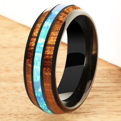 Black Tungsten Opal Koa Wood Ring Barrel Shape 8mm Band - Hanalei Jeweler