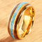 YG Plated Koa Wood Opal Tungsten Wedding Ring 8mm Triple Row Men's Ring - Hanalei Jeweler