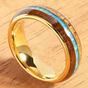 6mm YG Plated Koa Wood Opal Tungsten Wedding Ring Triple Row Men's Ring - Hanalei Jeweler