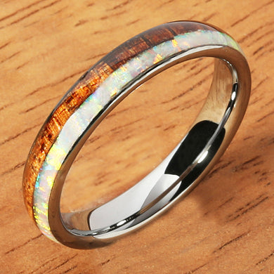 Tungsten Carbide Pink Opal Koa Wood Ring Double Row Two Tone Dome Shape 4mm - Hanalei Jeweler