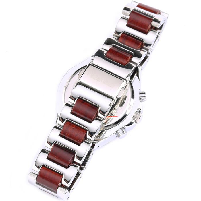 Ladies Wooden Watch Rose Wood and Stainless Steel Bracelet