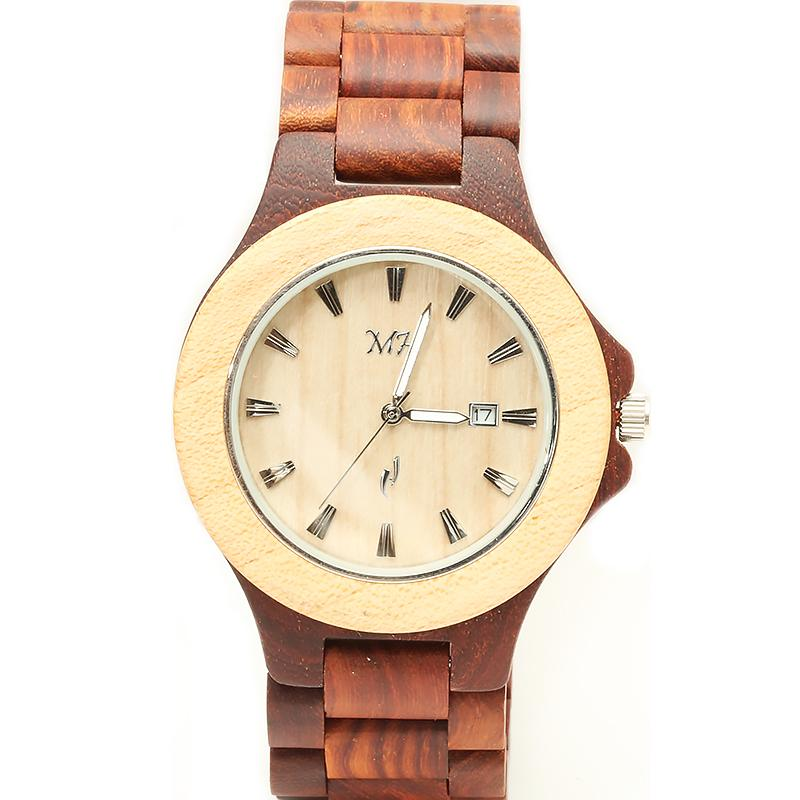 Red Sandalwood Maple Two Tone Wooden Watch Medium Size Japan Movement