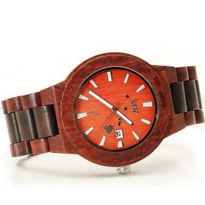 Red Sandalwood Maple Two Tone Wooden Watch Large Size Japan Movement - Hanalei Jeweler
