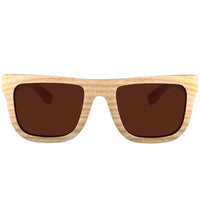 Classic Style Maple Wood Sunglasses  Rectangle Frame Flat