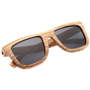 Classic Style Zebrawood Sunglasses  Rectangle Frame Flat - Hanalei Jeweler
