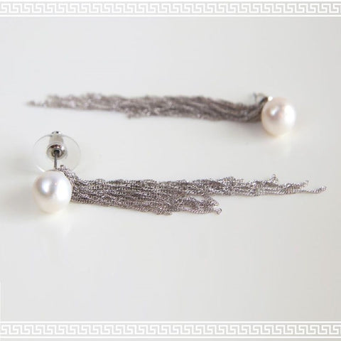 Dangling Chains Silver Earring