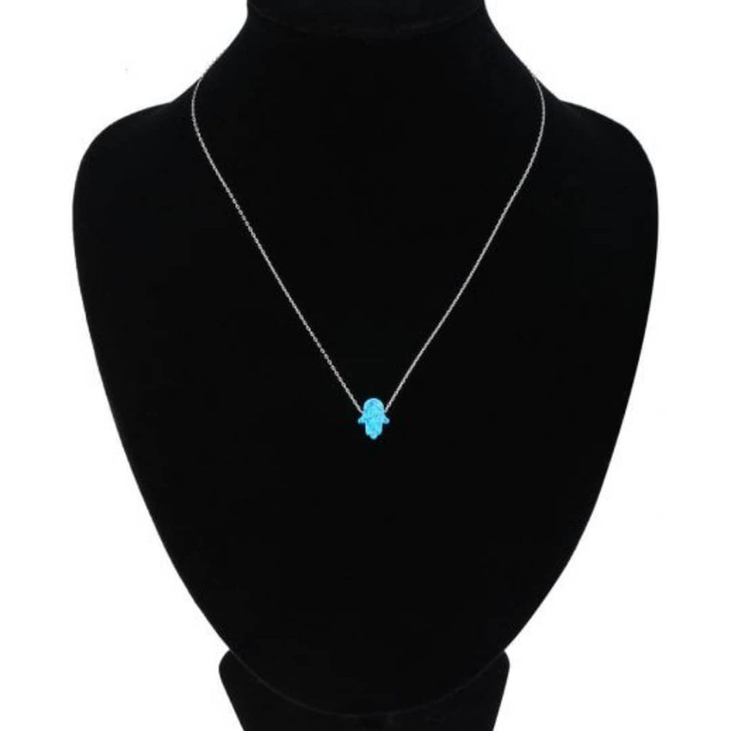 925 Sterling Silver Blue Opal Hamsa Necklace