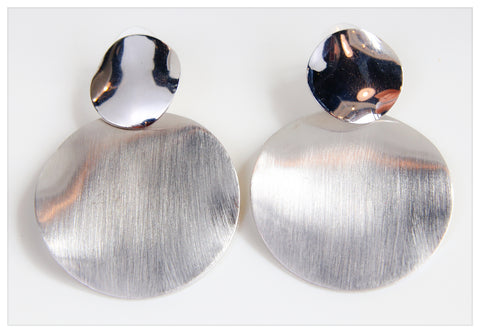 Duo Circle Silver Earring