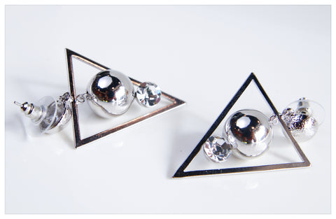 Hand Designed Triangle Silver Earrings