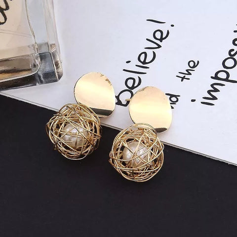Short Hooped-in Gold Earrings