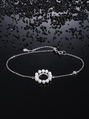 925 Sterling Silver Bracelet with Pearl Circle Pendant