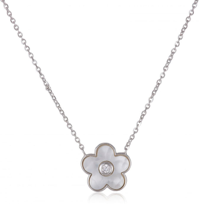 925 Sterling Silver Necklace with Austrian Crystal Flower Pendant