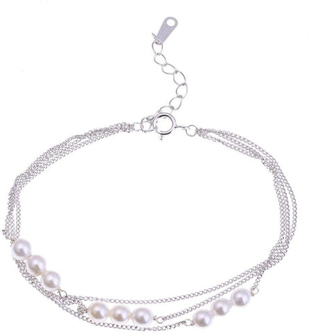Triple Layered 925 Sterling Silver Bracelet with Pearls