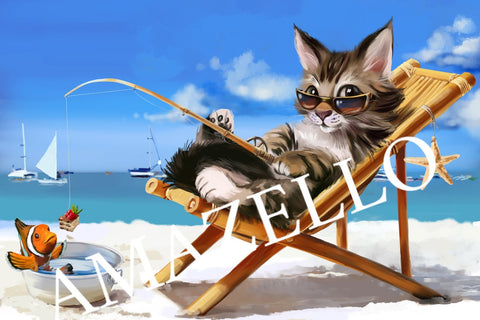 Image of 5D Diamond Painting Cat Fishing