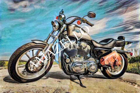 Image of 5D Diamond Painting Motorcycle Watercolor