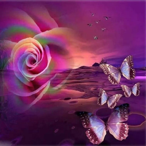 Image of 5D Diamond Painting Desert Rose and Butterfly