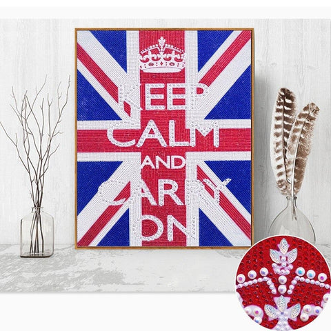 "Image of 5D Diamond Painting Sparkling ""Keep Calm"" Message Partial Drill 47cm x 57cm"