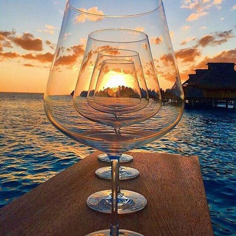 Image of 5D Diamond Painting Wine Glasses at Sunset