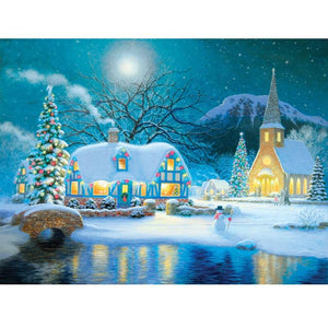 5D Diamond Painting Snowy Cottage