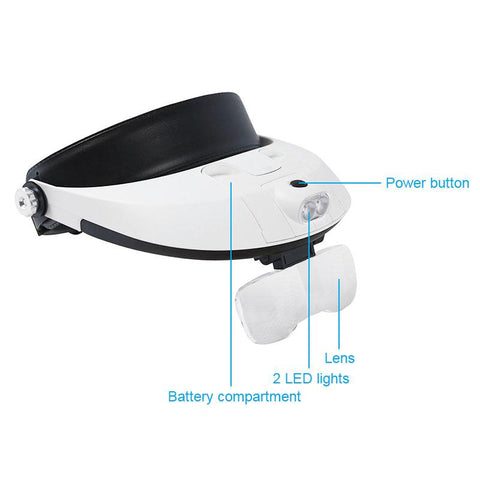 5D Diamond Painting Headband Binocular Magnifier Adjustable 5 Lens Eyeglasses 2 LED