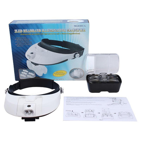 Image of 5D Diamond Painting Headband Binocular Magnifier Adjustable 5 Lens Eyeglasses 2 LED