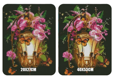 Image of 5D Diamond Painting Retro Flower Light