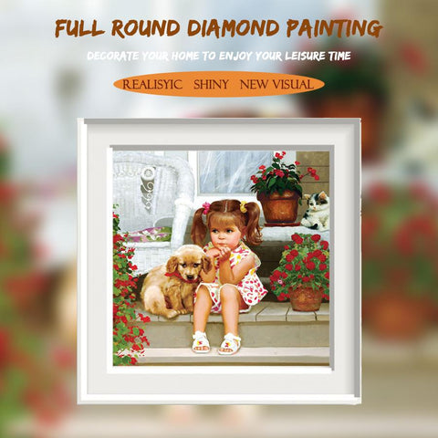 5D Diamond Painting Little Girl and the Puppy