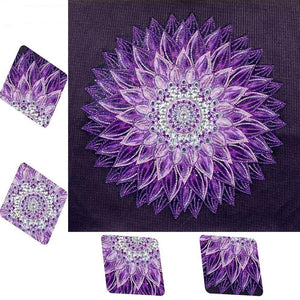 5D Diamond Painting Special Shaped Purple Mandala - Partial Drill