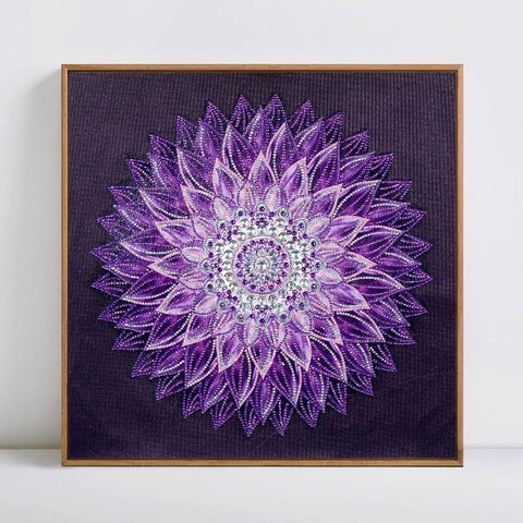 Image of 5D Diamond Painting Special Shaped Purple Mandala - Partial Drill