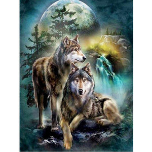 5D Diamond Painting Wolf Couple