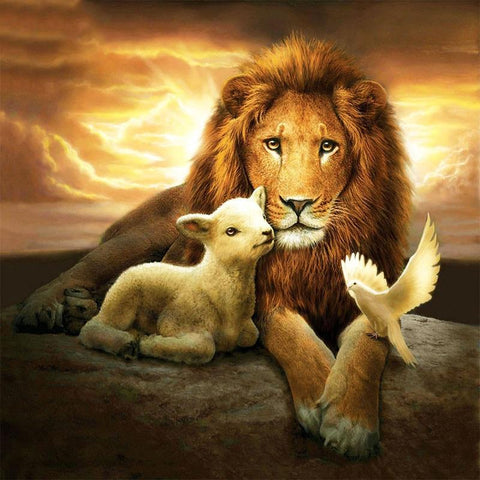 Image of 5D Diamond Painting Lion and Sheep