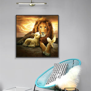 5D Diamond Painting Lion and Sheep
