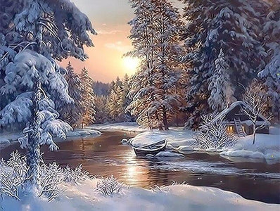 Paint by Numbers Snow Landscape