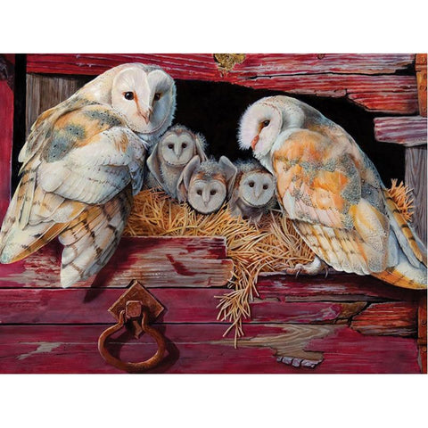 Image of 5D Diamond Painting Owl with Babies